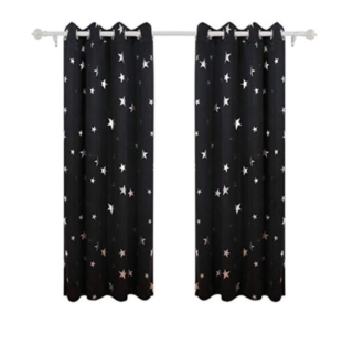Curtains for Boys' Bedroom with Silver Star Pattern
