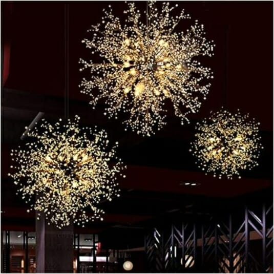12 Pcs Lights Chandeliers Firework LED Light Stainless Steel Crystal Pendant Lighting Ceiling Light