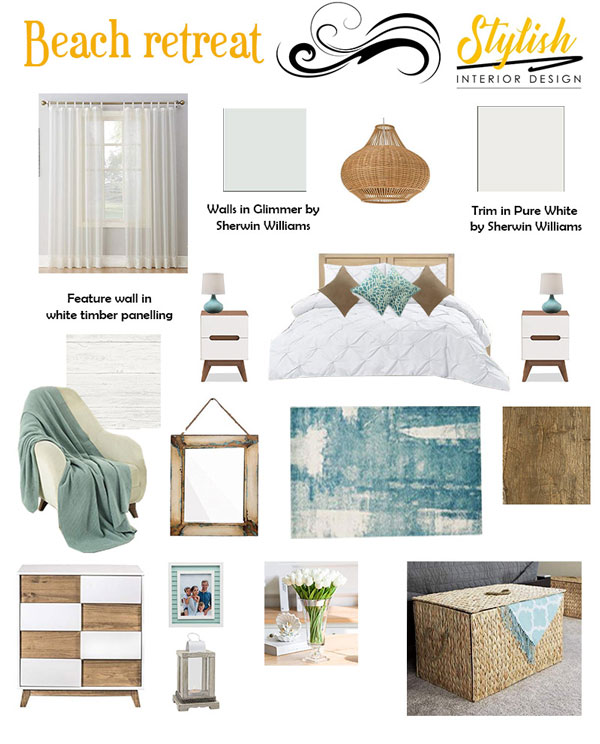 Mood board for a beach retreat layout