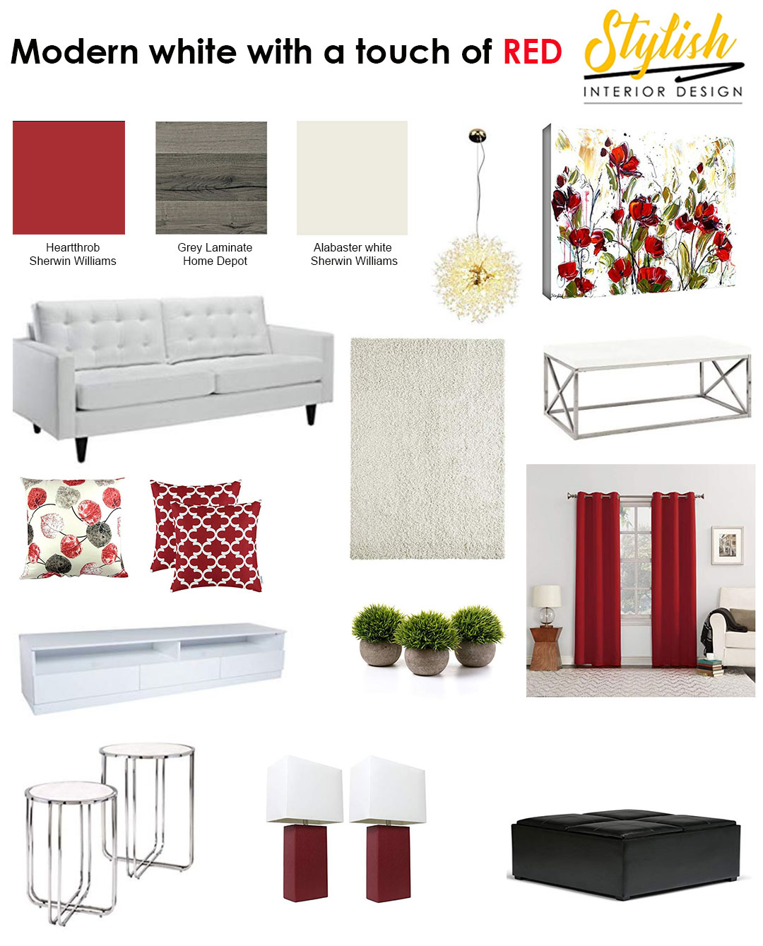 Mood board for living room colour schemes with a splash of red