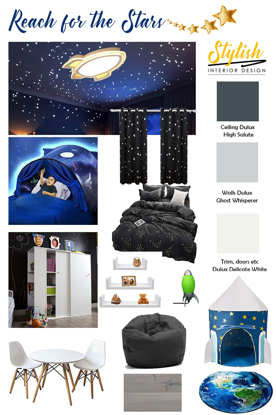 Mood board for reach for the stars room design