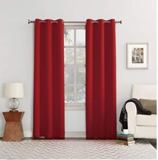 Red curtains for the living room