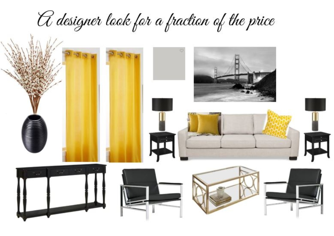 Mood board for a penthouse look for under $4,000