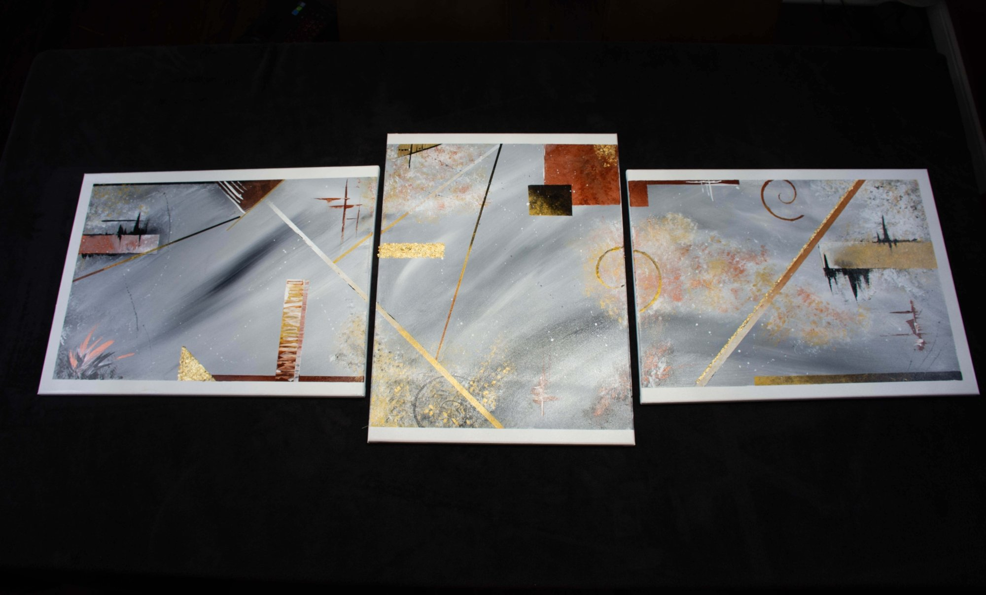 Dreams - abstract art - grey - sienna - black - rose gold - copper - white - size 18in x 24 x three