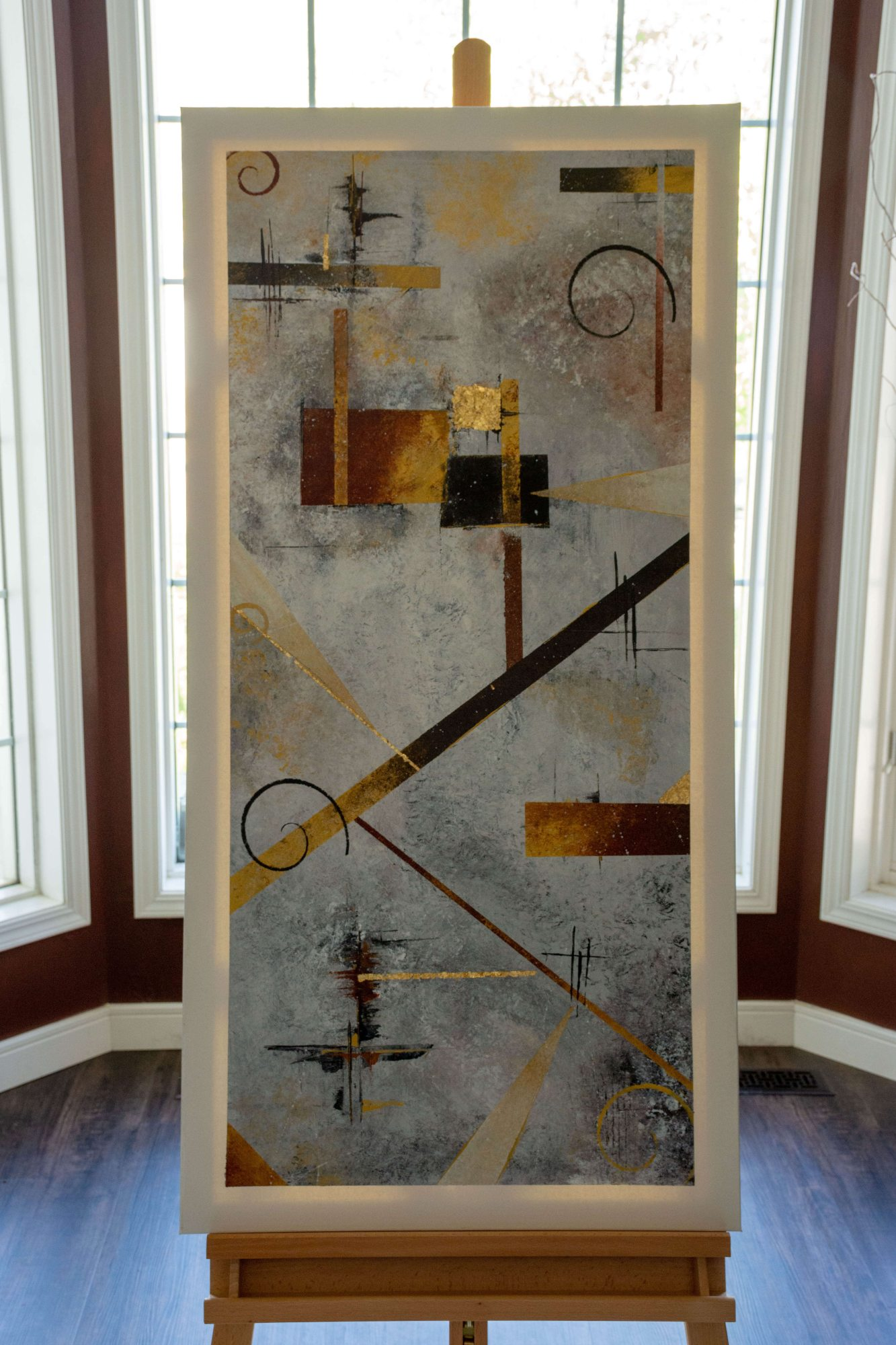 Egyptian mood - abstract art - brown - gold - black - white - grey - sienna - Size of painting 23.5in x 48in
