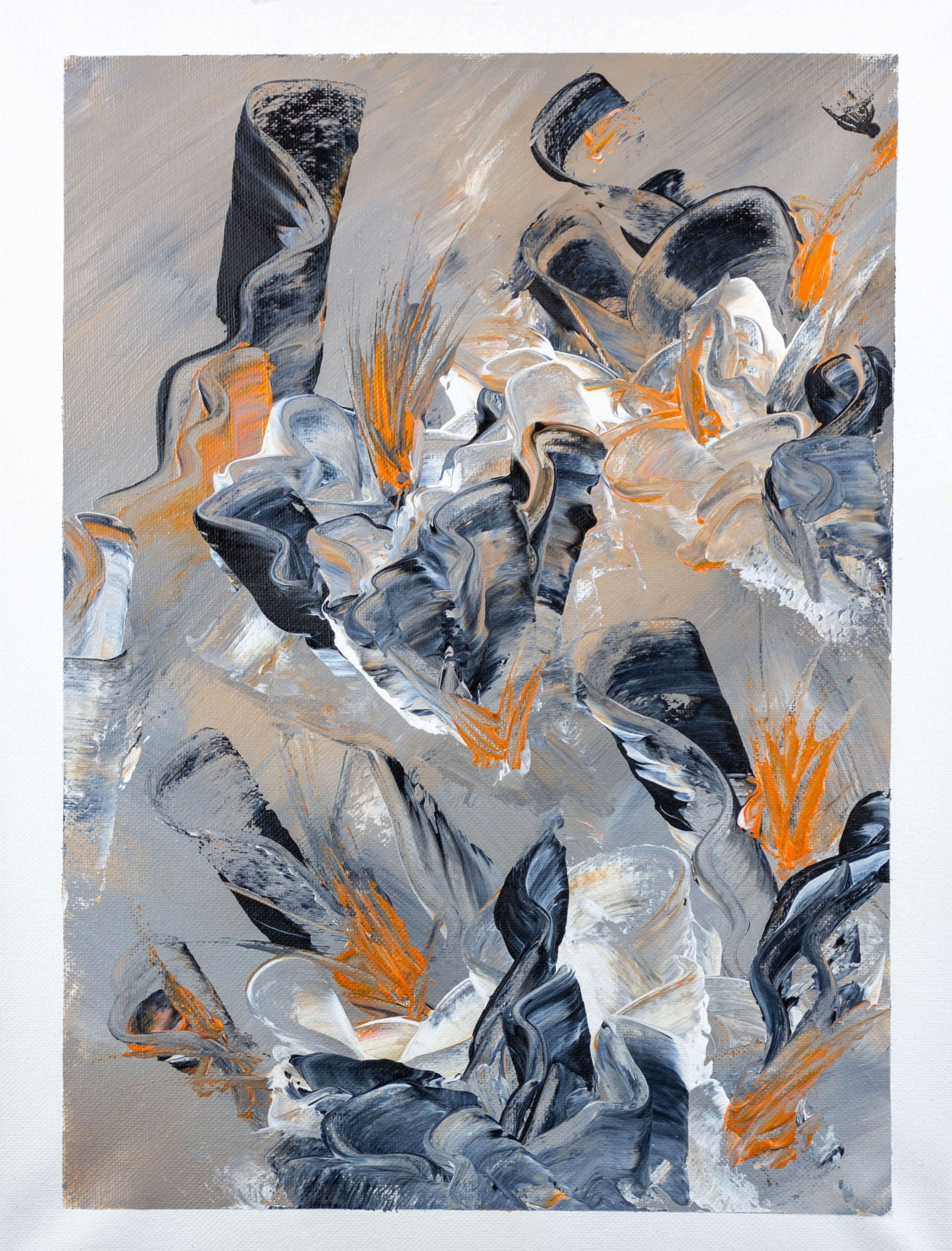 Flower party - abstract art - black - orange - white - size 16in x 12in