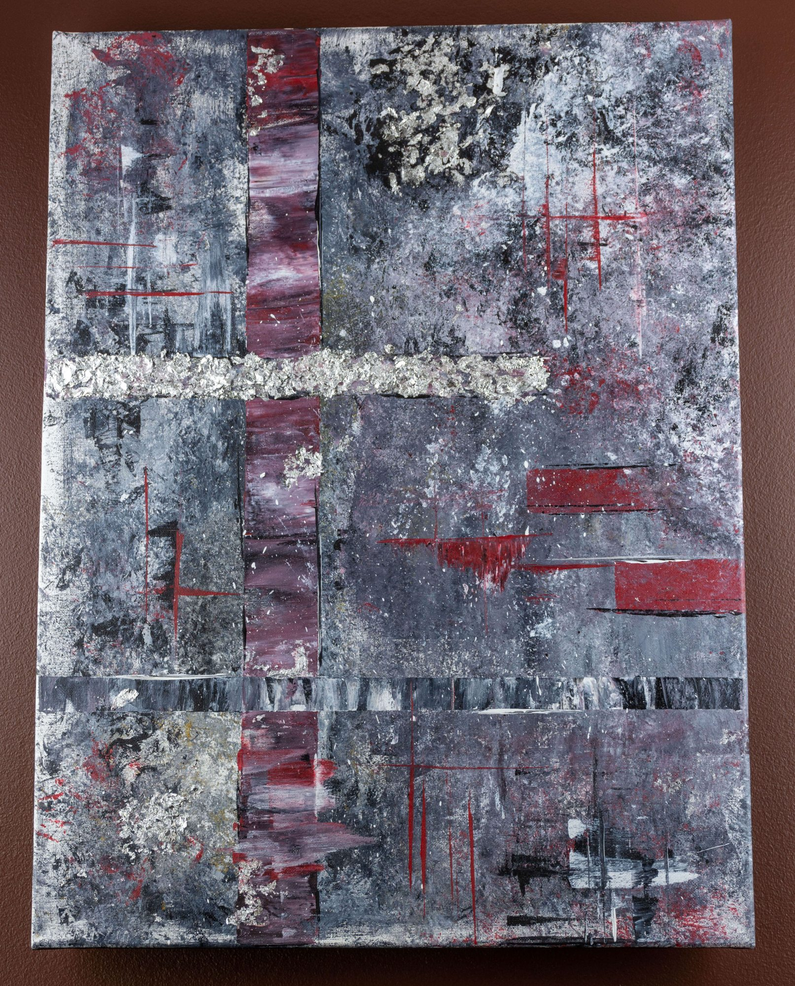 Frosty vision - abstract art - silver - red - black - white - grey - size 18in x 24in