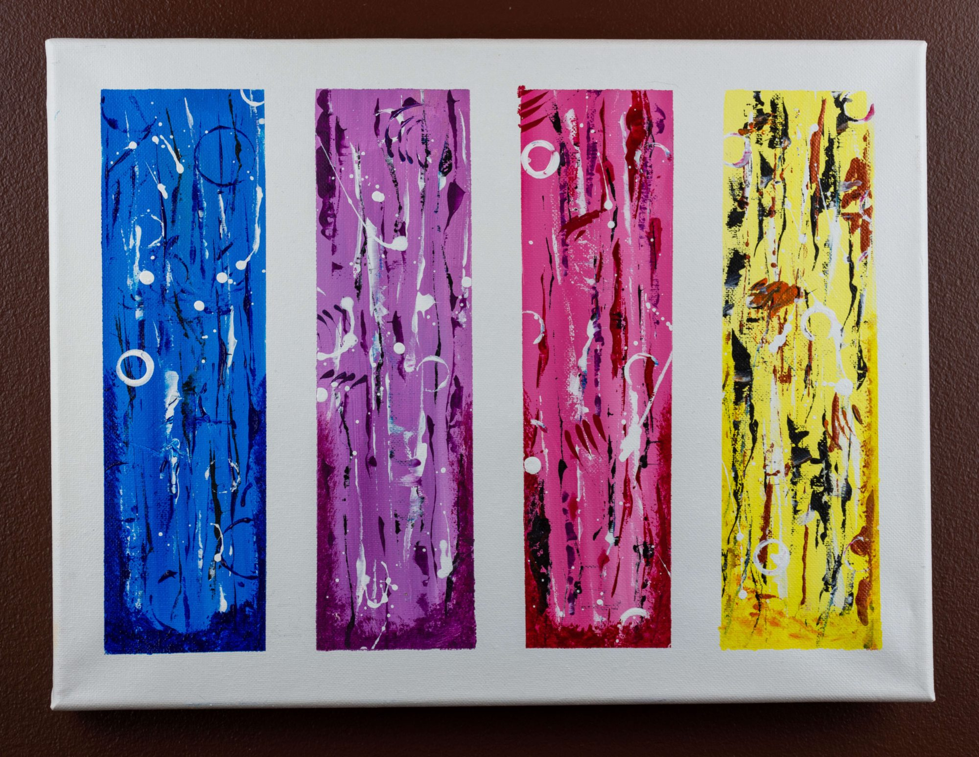 Under the sea - abstract art - blue - white - purple - pink - red - black - yellow - orange - size 16in x 12in