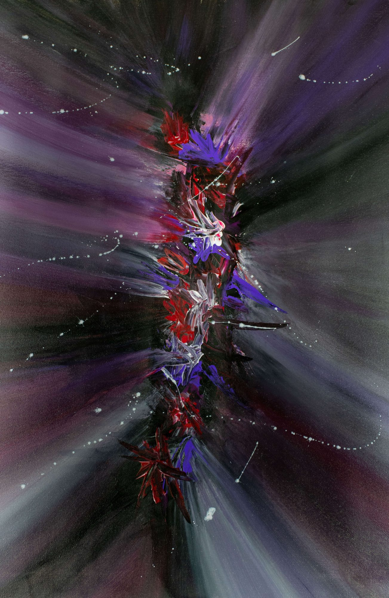 Violet flower burst - abstract art - violet - purple - red - white - black -Size 18 in x 24 in